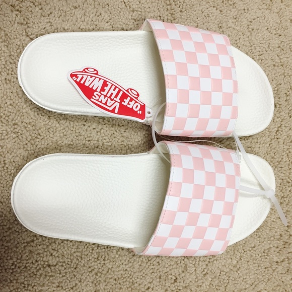 Pinkwhite Checkered Vans Sandals